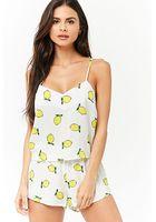 Lemon Print Cami Top & Shorts Pajama Set