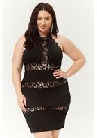 Plus Size Crochet Lace-trim Halter Mini Dress