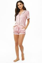 Cloud Print Satin Pj Set