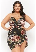 Plus Size Floral Surplice Bodycon Mini Dress