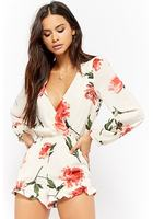 Ruffled Rose Print Romper