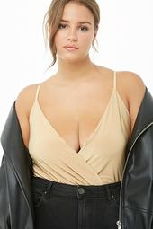 Plus Size Surplice Bodysuit