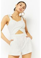 Cutout Pinstriped Romper