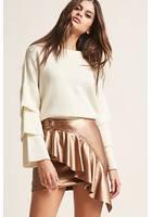 Faux Leather Ruffled Mini Skirt