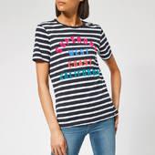 Superdry Women's West Coast Stripe Entry T-shirt - Rinse Navy/optic Stripe - Xs - Multi