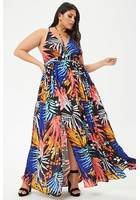 Plus Size Tropical Maxi Dress
