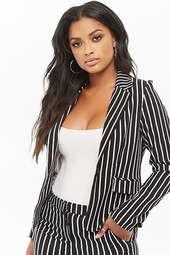 Striped Button-front Blazer