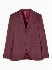 Burgundy Super Skinny Fit Single Breasted Blazer With Peak Lapels