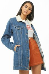 Faux Shearling Longline Denim Jacket