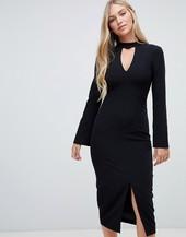 Vestido Midi Negro De Sastre De Corte Sencillo De Forever New