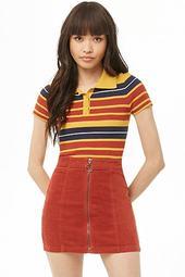 Zippered Corduroy Mini Skirt