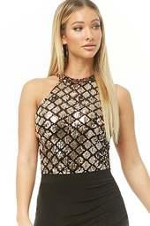Velvet Sequin Lace-up Halter Bodysuit