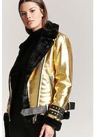 Faux Fur-lined Metallic Moto Jacket