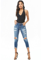 Distressed Super Skinny Capri Jeans