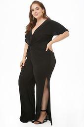 Plus Size Sheeny Twist-front Jumpsuit