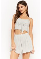 Polka Dot Tie-front Cropped Cami & Pleated Skirt Set