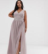 Vestido Largo Con Falda De Tul Y Corpiño Adornado Con Perlas De Asos Design Curve