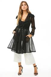 Sheer Mesh Longline Trench Coat