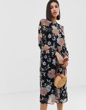 Vestido Midi Amplio Con Transparencias Y Estampado Floral De Vero Moda