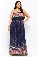 Plus Size Strapless Floral Maxi Dress