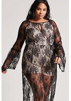 Plus Size Sheer Lace Maxi Dress