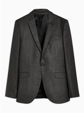 Grey Skinny Fit Pinstripe Single Breasted Blazer With Notch Lapels