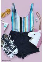 Motel Striped Bodysuit