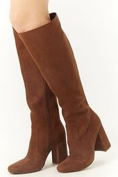 Square Toe Faux Suede Tall Boots