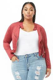 Plus Size Faux Suede Jacket
