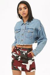 Denim Camo Mini Skirt