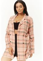 Plus Size Lightweight Plaid Blazer