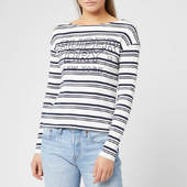 Superdry Women's Gracie Stripe Top - Mono Stripe - Uk 8 - White