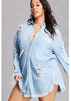 Plus Size Cutout Denim Dress