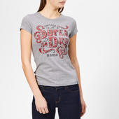 Superdry Women's Frontier Script Studded Entry T-shirt - Grey Marl - Uk 8 - Grey