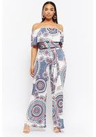 Plus Size Abstract Print Flounce Jumpsuit