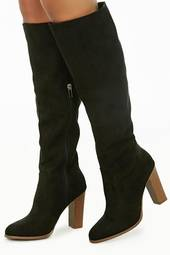 Faux Suede Stacked Heel Boots