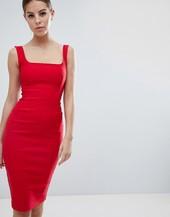 Vestido De Tubo Rojo Con Cuello Cuadrado De Vesper