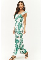 Smocked Tropical Leaf Print Jumpsuit