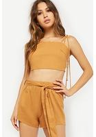 Linen-blend Cami & Tie-front Shorts Set