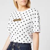 Superdry Women's Studio 395 Polka Dot Aop Portland T-shirt - Optic - Uk 8 - White