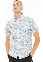 Sailboat Print Curved Hem Shirt
