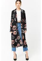 Floral Open-front Duster Jacket