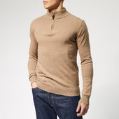 Joules Men's Hillside 1/4 Zip Knit - Camel Marl - S - Grey
