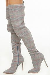 Glen Plaid Thigh-high Boots