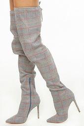 Glen Plaid Thigh-high Boots