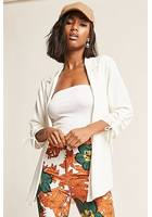 Crepe Ruched-sleeve Blazer