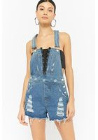Lace-up Distressed Denim Overall Shorts