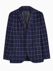 Navy Tailored Fit Windowpane Check Single Breasted Blazer With Notch Lapels